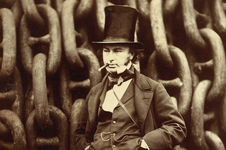 Isambard Kingdom Brunel standing before the launching chains of the Great Eastern