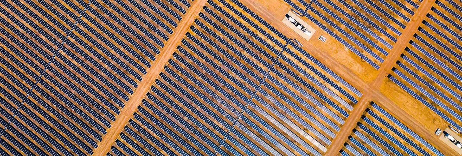 Aerial photo of Australian solar farm