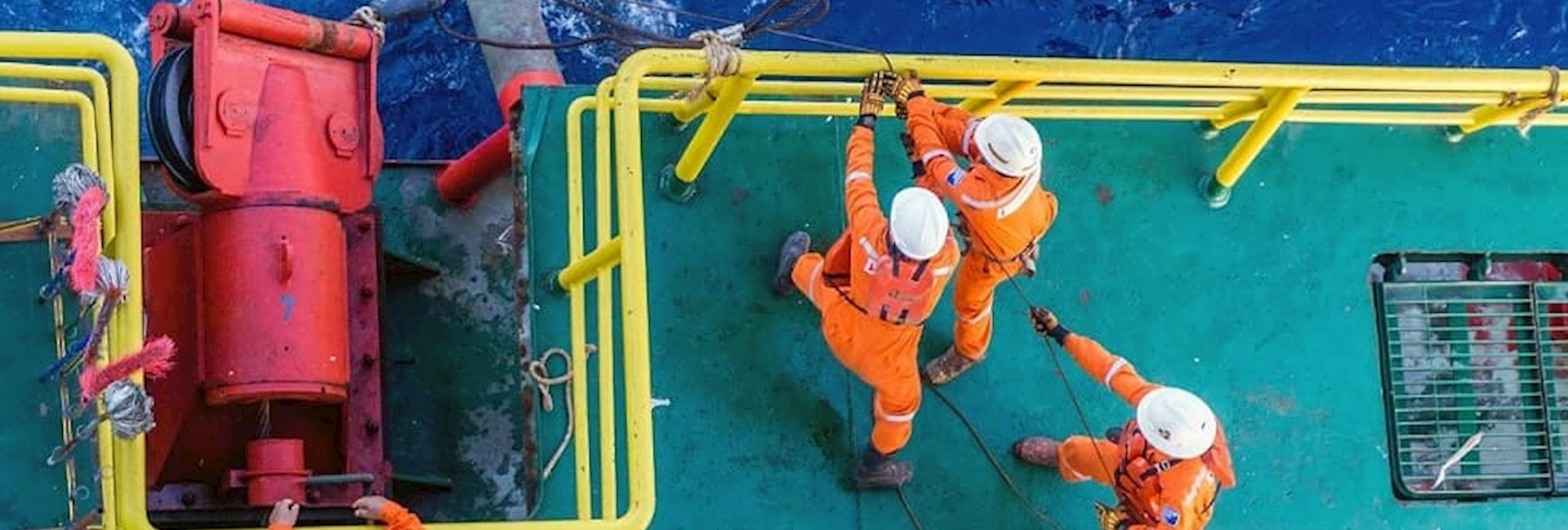 Workers on oil rig