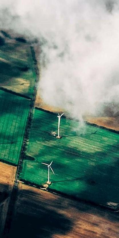 Aerial photo of wind turbines