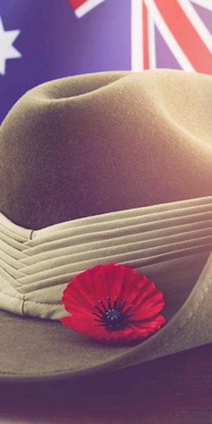 Anzac hat with poppy