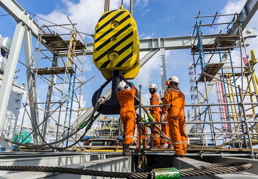 Offshore construction workers
