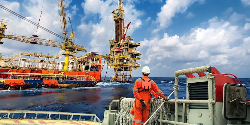 Offshore oil platform worker