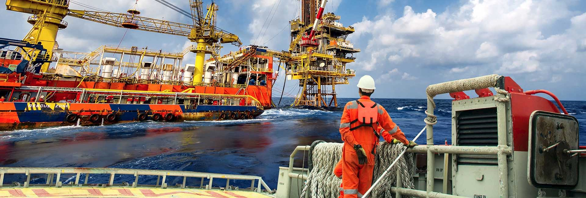 Offshore oil platform worker