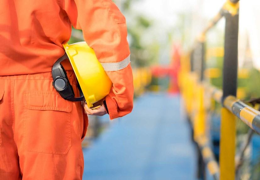Gas plant worker closeup