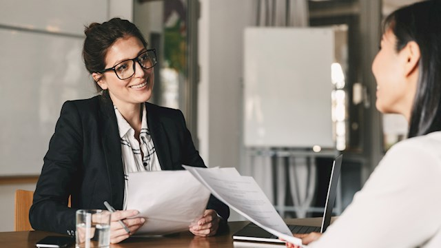 female recruiter interviewing candidate