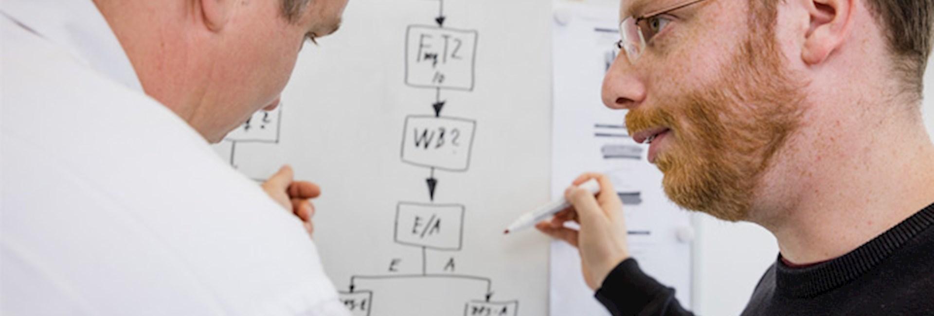 Projektingenieur Martin Fischer und Testingenieur Lars Dietrich in einer Besprechung