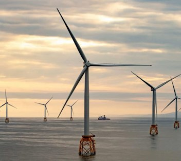 Windmills at sea for the Seagreen Wind Energy project